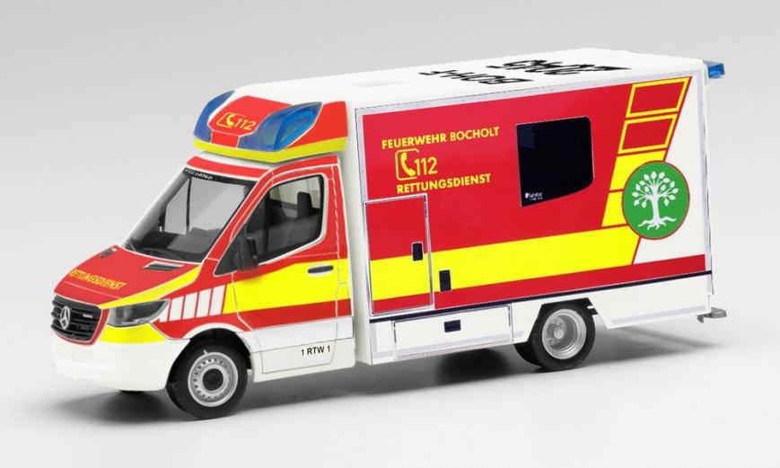 """Herpa 095921 - Mercedes-Benz Sprinter 18 Fahrtec RTW """"Feuerwehr Bocholt"""""""