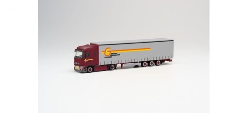 Herpa 311496 - Renault T Lowliner-Gardinenplanen-Sattelzug