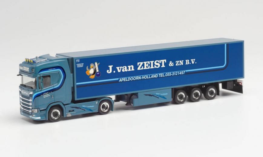 """Herpa 313063 - Scania CS 20 HD Kühlkoffer-Sattelzug """"J.van Zeist"""" (Niederlande/Wenum-Wiesel)"""