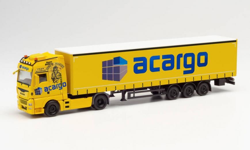 "Herpa 313094 - MAN TGX XXL Gardinenplanen-Sattelzug ""Acargo / Sons of Anarchy"" (Hamburg)"