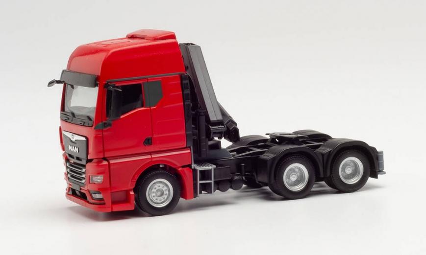 Herpa 313117 - MAN TGX GX 6x4 Zugmaschine mit Ladekran und ausfahrbaren Stützen, rot