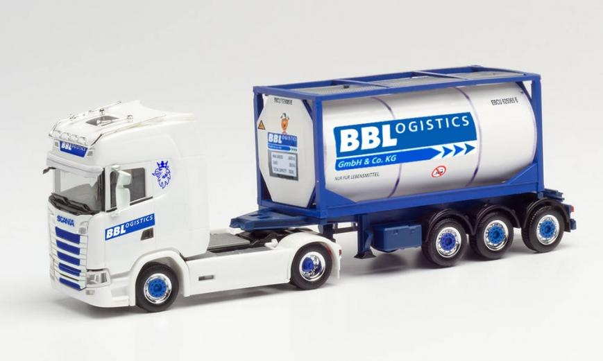 "Herpa 313162 - Scania CS 20 HD Tankcontainer-Sattelzug ""BBLogistics"" (Nordrhein-Westfalen/Kempen)"