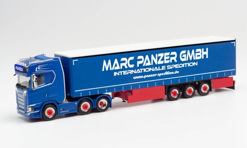 """Herpa 313247 - Scania CS 20 HD 6x2 Gardinenplanen-Sattelzug """"Marc Panzer Transporte"""