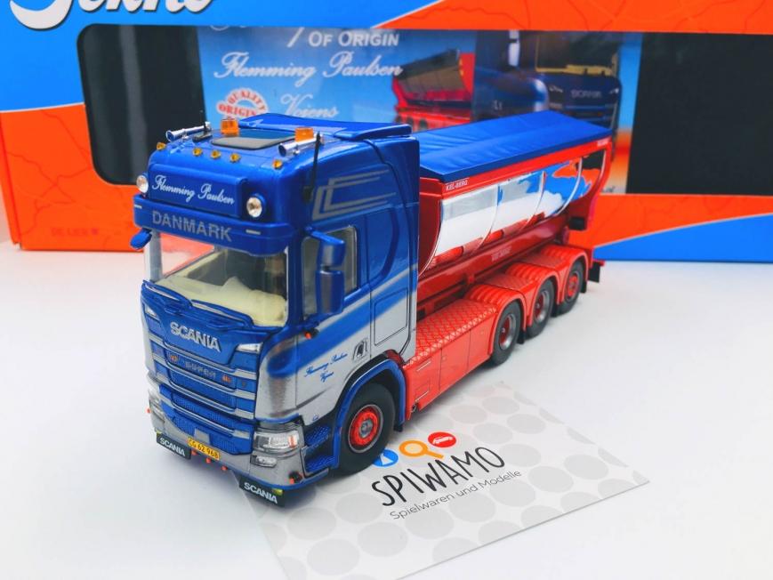 Tekno 80933 - Scania NextGen R-Serie mit Hakenlift und Asphaltcontainer - Flemming Paulsen