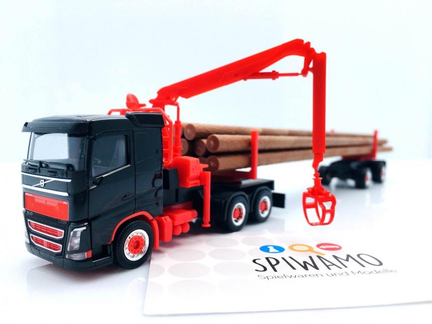 Herpa 313575 - Volvo FH FD Langholztransporter-Sattelzug, schwarz/rot