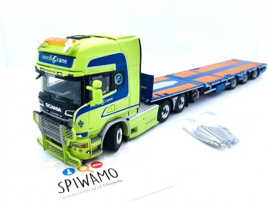 WSI 01-3418 - SCANIA R STREAMLINE TOPLINE 6X4 - 3 Achs Megatrailer Flachbett - Nordic Crane