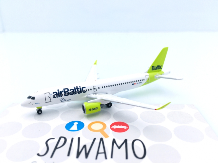 """Herpa 535328 - airBaltic Airbus A220-300 - new livery """"100th A220"""" – YL-AAU - 1:500"""